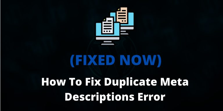 Duplicate Meta Descriptions Error