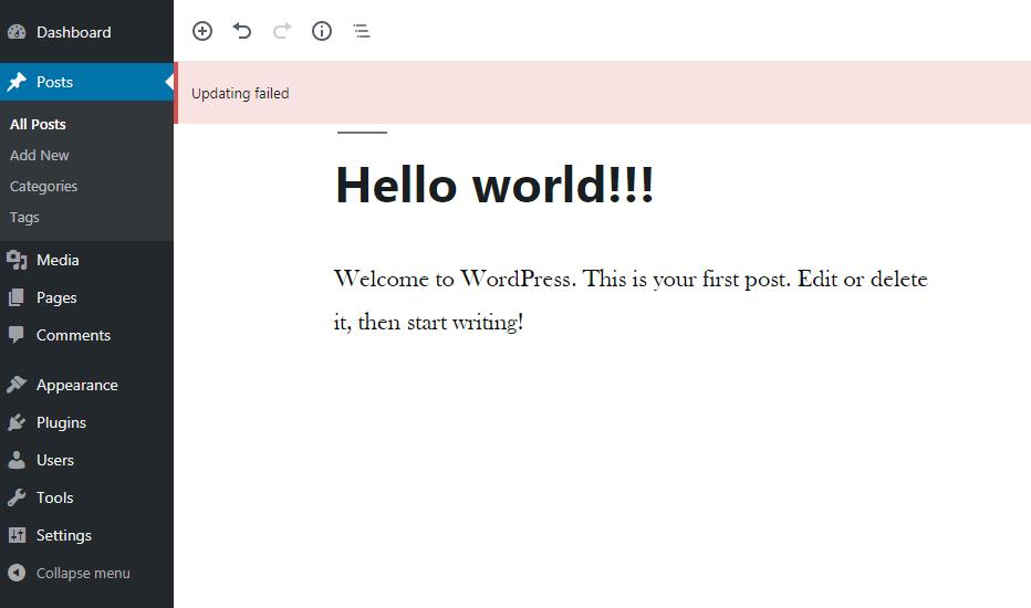 Wordpress Updating Failed Error