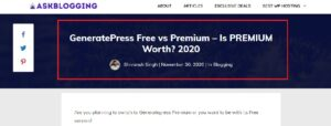Generatepress free vs Premium