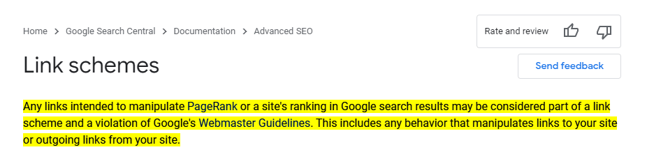 Google Link Policy