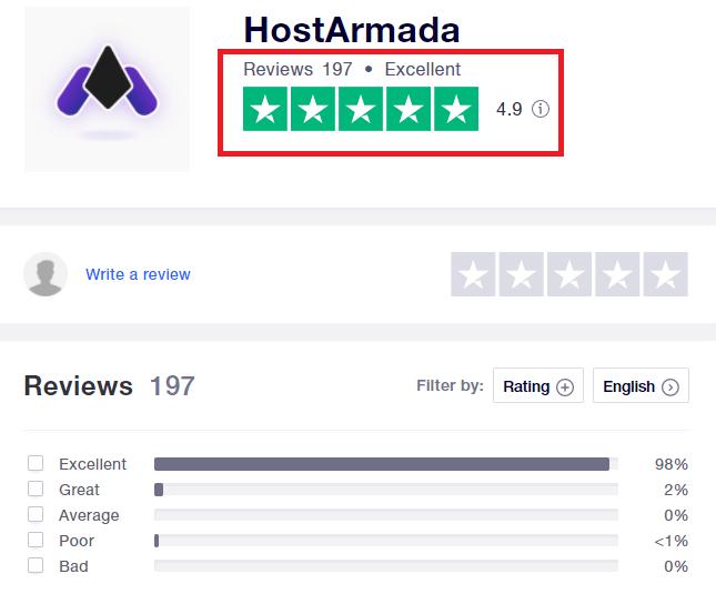 HostArmada Trustpilot Review